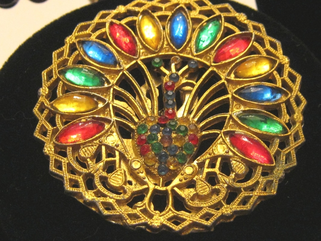 Treasure Box Antiques Peacock Brooch
