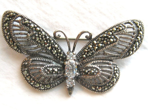 Sterling marcasite butterfly brooch pin