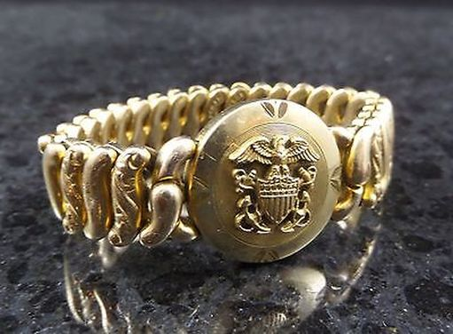 Vintage American Queen Navy Expandable Sweetheart Bracelet