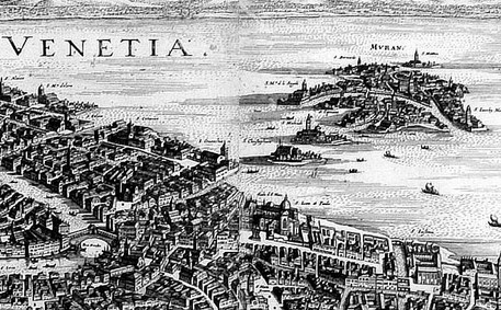 Antique map of Venice and Murano