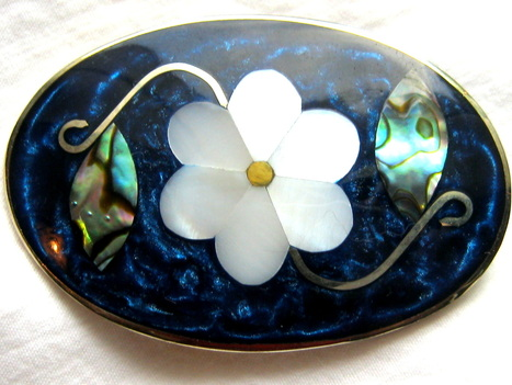 MOP inlay brooch
