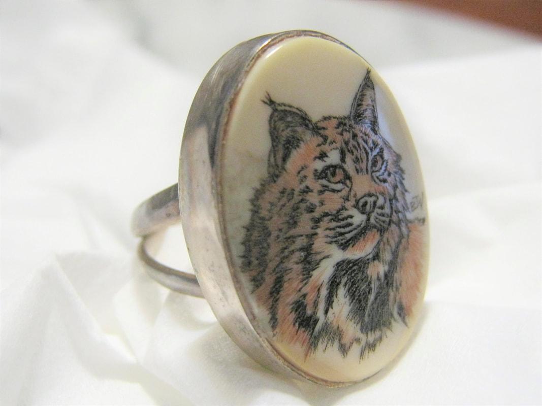 Scrimshaw ring Treasure Box Antiques