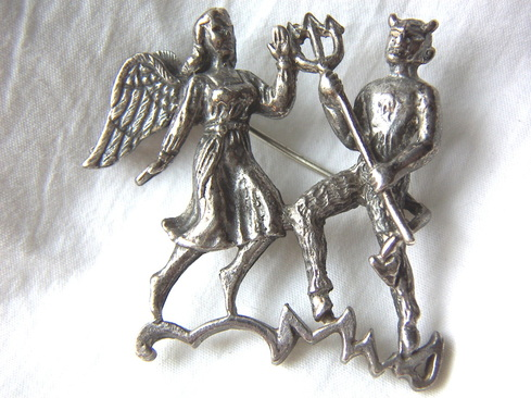 angel and devil brooch