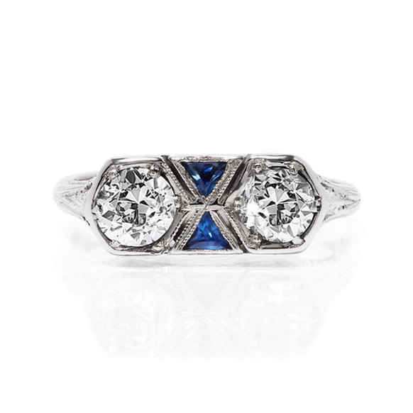 Art Deco diamond and sapphire ring from Yates & Co. Jewelers