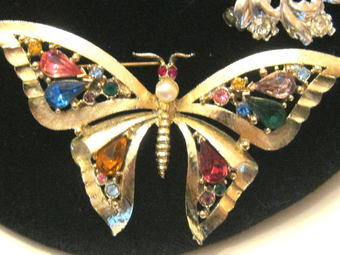Colorful vintage butterfly brooch pin