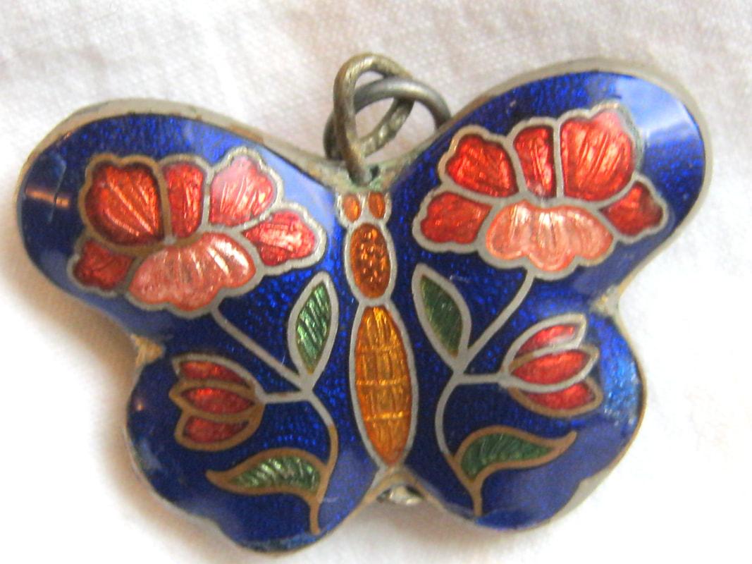 Cloisonne butterfly Treasure Box Antiques