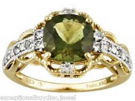 Moldavite and diamond ring